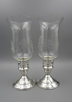 Vintage Sterling Silver and Etched Glass Hurricane Lamps - Pair