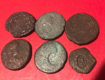 Lot Of Six Partially Cleaned Roman  Provincial Coins Found In Israel