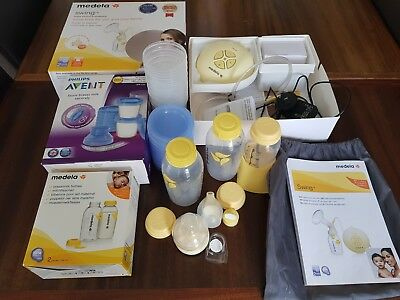 Medela Swing single Electric breast pump. VG used condition. Includes extras
