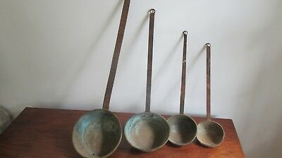 Antique Early Lot  Primitive  Wrought Iron and Brass Set Of 4 Large Ladles
