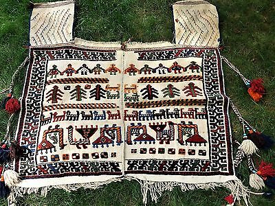 Antique Persian Qashqai tribal horse saddle cover blanket rug c 1900