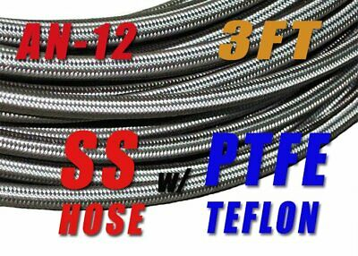 "An-12  -12An 5/8"" 16Mm Stainless Steel Braided Teflon Fuel Oil Hose E85-3Ft"