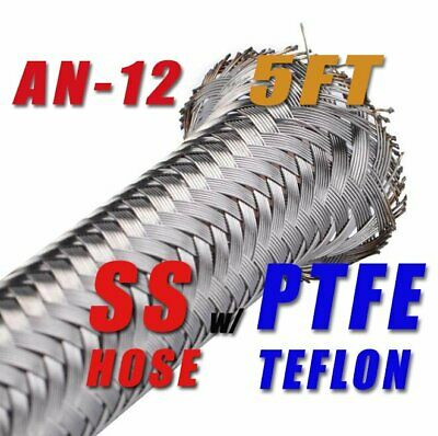 "An-12 -12An 5/8"" 16Mm Stainless Steel Braided Ptfe Teflon Fuel Oil Hose - 5Ft"