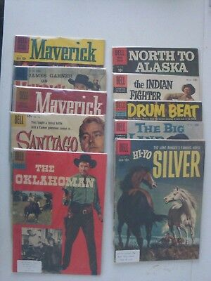 LOT OF 10 OLD WESTERN COMICS ALL 10c DELL & DELL MOVIE CLASSICS ONE FIRST ISSUE