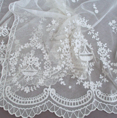 """Pr Vintage French TAMBOUR LACE Embroidered Curtain Panels 45"""" X 22"""" Flower SWAGS"""