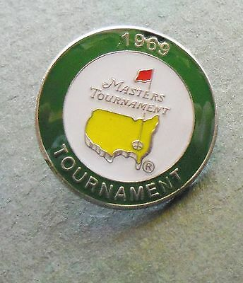 U.s. Masters 1969  Won By George Archer  Stemmed Golf Ball Marker & Case