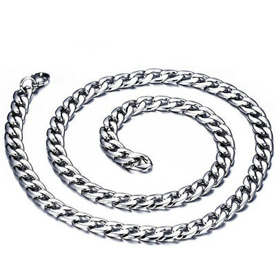 """Man's Silver Figaro Hexagon Curb Chain Stainless Steel Necklace Jewelry 23.58"""""""