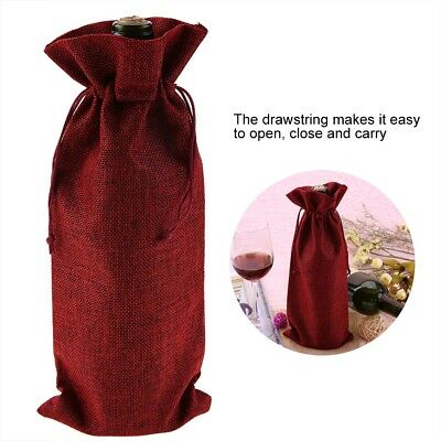 12PCS Burlap Wine Bag Drawstring Hessian Bottle Gift Cover Wedding Party Decor