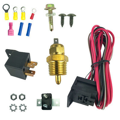 electric fan wire harness installation kit complete thermostat 50 amp relay  185�
