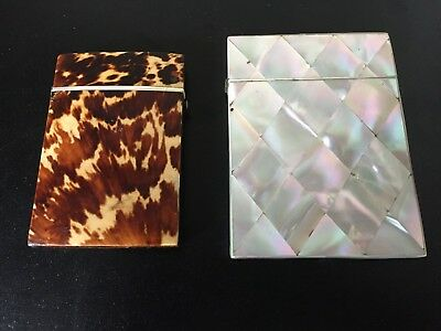 2 X Antique Mother-of-Pearl and Leopard Skin Card Case from 1920s.