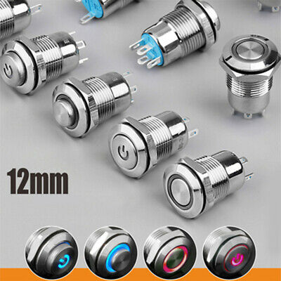 12V/24V Car Metal LED Power Push Button Momentary ON/OFF Switch Multicolor 12mm