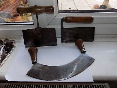 3 x ANTIQUE STEEL & TURNED WOOD HERB CHOPPER'S ANTIQUE KITCHEN TOOLS