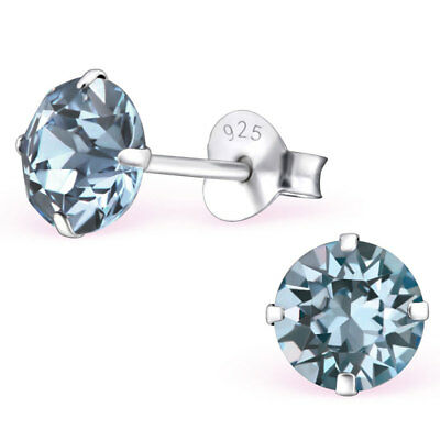 Sterling Silver Indian Sapphire Stud earrings Made With Swarovski Crystal