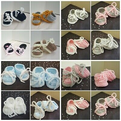 **New Crochet Baby girl boy Sneakers Shoes Booties early baby Newborn - 12m