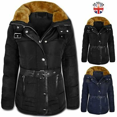 Womens Ladies Quilted Winter Coat Puffer Fur Collar Hooded Jacket Parka New Size