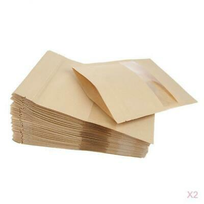 100x Kraft Paper Bags Stand Up Pouch Food Zip Lock Packaging Window 12x20cm