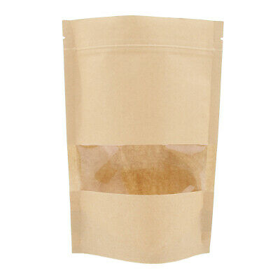 100x Kraft Paper Bags Stand Up Pouch Food Zip Lock Packaging Window 14x22cm