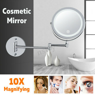 Double Side Makeup Cosmetic 10X Magnifying Stand Mirror with LED Lights Vanity