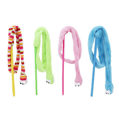 Cat Cartoon Snake Stick Mint Colorful Plush Interactive Pet Sound Teaser Toy New
