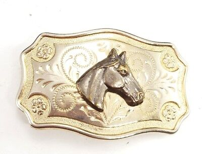 (*J) Vintage silver plated horse head belt buckle equestrian flower unisex