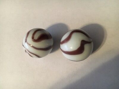 Lot of 2 Marble Vintage Antique Glass Beautiful brown and white stripes