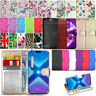 For Huawei Honor 8X 51092XXD Wallet Leather Case Flip Book Cover + Screen Film