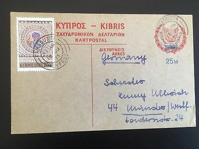 Postal History Cyprus 1973 Prepaid Postcard 25m on 15m Red Famagusta to Germany