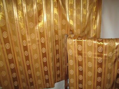 Vintage Curtains Golden Sateen 1950s Mid Century Lined  Cotton Brocade L132
