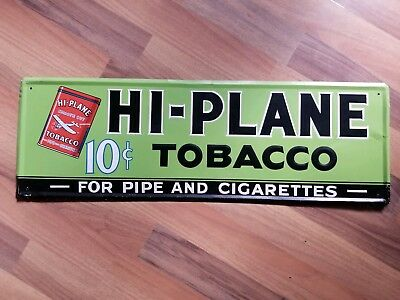 Vintage Hi Plane Tobacco Metal Sign Advertisement Original Nice Cond Embossed