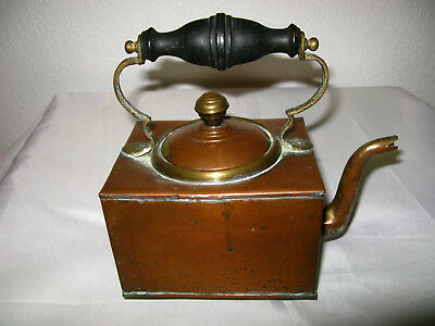 "Victorian Copper Kettle Square Shaped ""Uk Seller"""