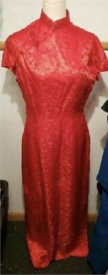 Vintage Chinese Cheongsam Red Floral Full Length Dress