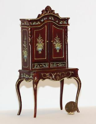 Dollhouse Miniature Exquisite Mahogany Tall Hand Painted Desk