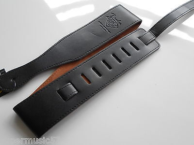 "Black Fender 2.5"" Wide Pu Leather Acoustic,bass Or Electric Guitar Strap 60Th"