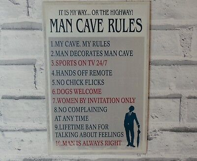 Vintage Retro Style Metal Wall Sign Plaque Man Cave Rules For Him Gift/present