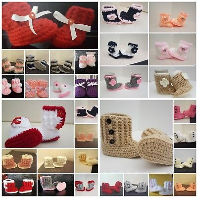 *New Crochet Baby Girl Booties Shoes early baby Newborn To 12m away til 28th jan