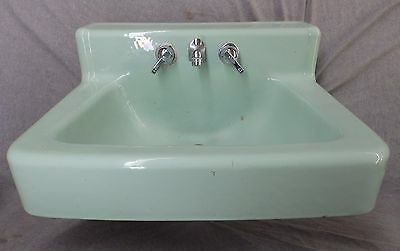 Vtg Jadeite Green Porcelain Cast Iron Shelf Top Sink AS IS Old Bathroom 1879-16