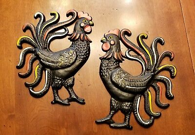 """Vintage 9"""" Cast Iron Pair of Rooster's Wall Art"""