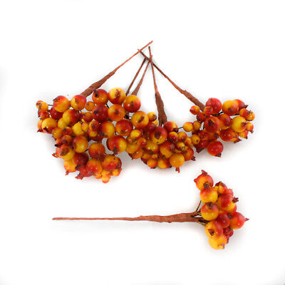 Artificial Berries Orange Yellow Pack of 8 berry picks with 192 berries 13cm (5""