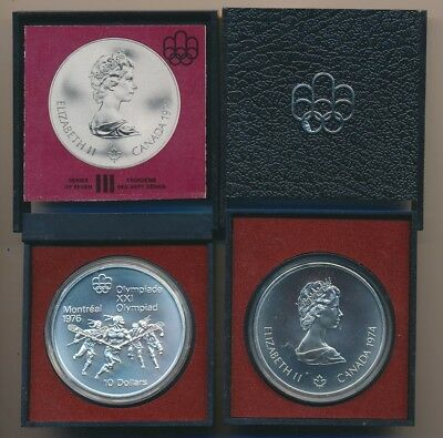 Canada: 1974 $10 Olympics - Lacrosse .925 Silver, 48.6g, 1.436oz ASW in Mint Pkg