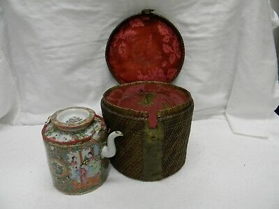 Antique Porcelain Chinese Teapot with Wicker Insulated Basket