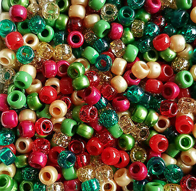 100 Christmas 'Tis The Season Red Green Gold Pearl Glitter Pony Beads Loom Dummy