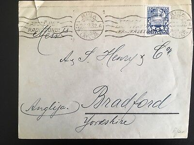 Postal History Latvia 1932 Cover from Riga to the Great City of Bradford UK
