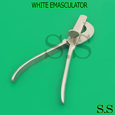 "Small White Emasculator 8"" Double Crush Stainless Steel"