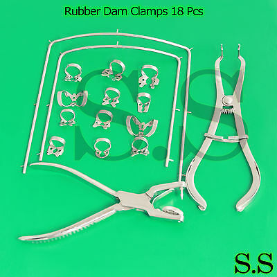 Rubber Dam Clamps 18 pieces Kit with Frame rubber Dam Surgical Instrumen DN-2077