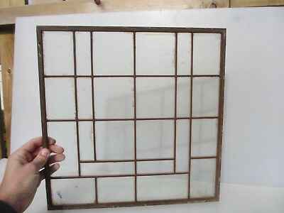 Vintage Copper Framed Window Panel Glass Art Deco Factory Lighting Shade 15.5""