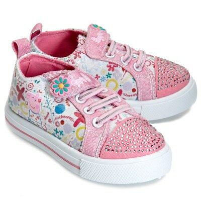 NEW NWT Girls Peppa Pig Baby and Toddler Shoes Size 5 6 7 8 9 or 10 Rhinestones