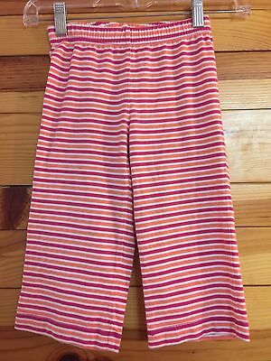 Hanna Andersson Striped Capri Cropped Pants Coral/Pink/White Girls Size 110 5-6X