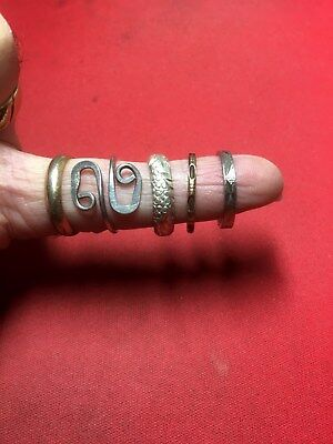 Group of 5 Vintage Modern Mixed Bands Pure Sterling Silver Rings Lot of Five #Q2