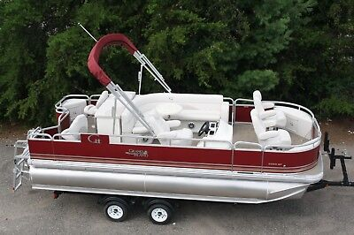 Tritoon- New 20  fish and fun Grand Island pontoon boat-115 and trailer