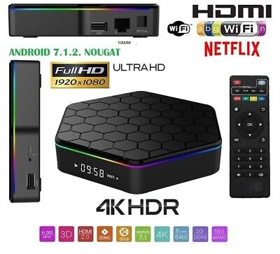 Q5 SMART TV BOX Android 4K ultra HD 3GB 32GB WIFI TELECOMANDO ANDOW IPTV DECODER